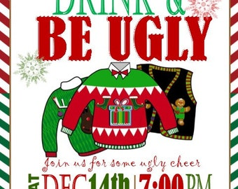 ADULT UGLY SWEATER Christmas Party Invitation