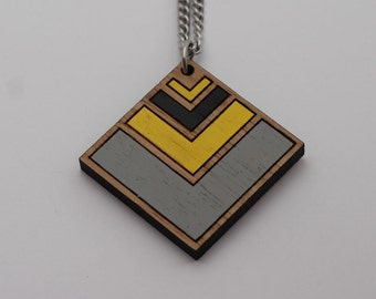 Wood laser cut pendant necklace - chevron, yellow, black, grey gray - diamond