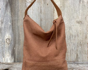 Leather Hobo Bag in a Soft Natural Leather - Brown Leather Handbag - Slouchy - Leather Purse - Neutral - Short Strap -  - Stacy Leigh Bags
