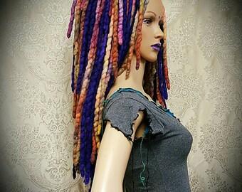 CIRCUS Fae Falls™ Ready to Ship OOAK Hair falls- purple wig,fairy,butterfly costume,dreads,tribal fusion dread falls,rave dreads,dreadies