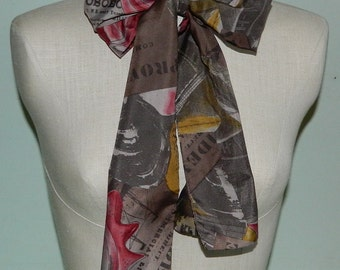 """80s Artsy Nautical Long Warm Color Scarf Shells Cruise Ships 62"""" by 6.75"""""""