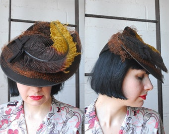 1940s Feather Hat / New York Creation Hat / 40s Hat