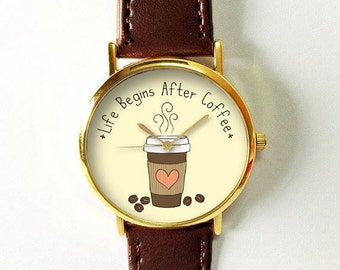 Coffee Gift, Coffee Lover, Life Begins After Coffee Watch,  Coffee Cup, Coffee Quotes, Funny, Caffeine Lover, Leather Watch, Freeforme Watch