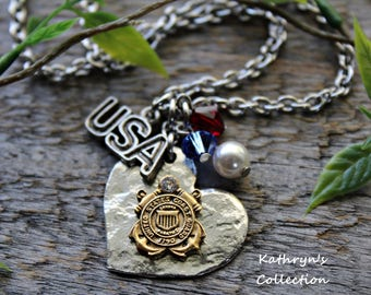 US Coast Guard Necklace, US Armed Forces, Military Mom