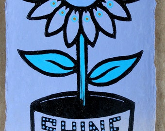 Shine On - Lilac edition a hand painted linocut - Signed, Numbered Edition of only 35