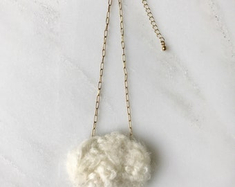 Knitted Rain Cloud Necklace
