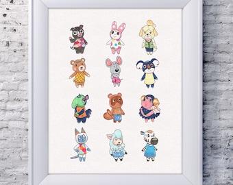 Animal Crossing Nintendo video game wall art print for home decor or gamer girlfriend gift