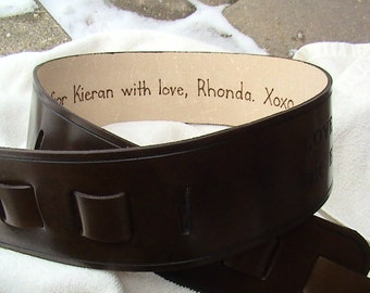 Added Feature Only - Pyrography (branding) Writing to the interior of genuine leather belts or guitar straps