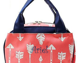 Girls Monogrammed Lunch Bag Coral Arrow Insulated Cooler Tote