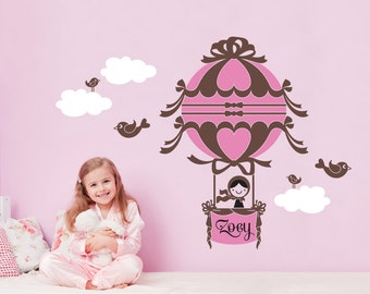 Hot Air Balloon Wall Decal Personalized Name Girl Baby Nursery Kids