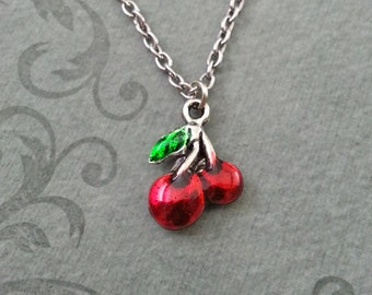 Cherry Necklace SMALL Red Cherries Necklace Gambling Gift Gambling Necklace Bridesmaid Necklace Fruit Necklace Fruit Jewelry Cherry Jewelry