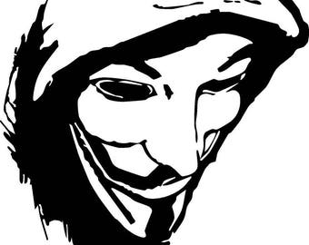 Guy Fawkes four inch wide by four inch tall vinyl decal sticker