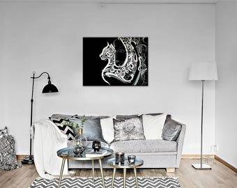 Black cat Painting /Black cat Artwork /ORIGINAL Oil Painting /Canvas Art /Wall decor /Black White /Wall art /Wall decor /Art Deco