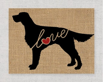 Irish Setter Love - Burlap or Canvas Paper Dog Breed Wall Art Home Decor Print - Gift for Dog Lovers - Can Be Personalized with Name (101s)