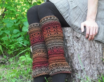 Knit Leg Warmers, Women's Leg Warmers, Knitted Leg Warmers, Festival Leg Warmers, Pixe Leg Warmers, Autumn Colors, Made To Order