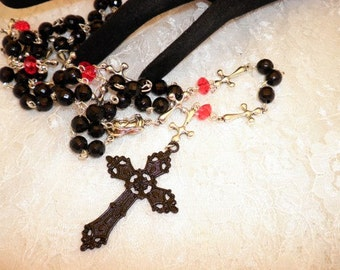 Gothic Black and Red Rosary or Prayer Beads