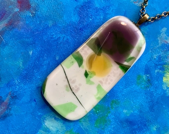 Large colorful fused glass pendant