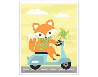 12A Fox Art Print - Fox on Vespa Wall Art - Fox Nursery Print - Woodland Nursery Decor - Vespa Drawing - Vespa Print - Baby Fox Wall Art