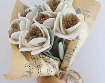 White linen cottage style textile flower  bouquet