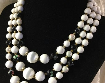 White and Black Adorned Lucite Bead Multi Strand Necklace Three Strands Focal Beads Silver Tone Metal 1960's 1950's Mid Century Day Jewelry
