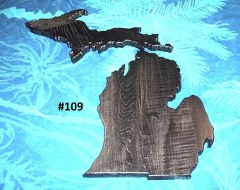 Michigan Hardwood plaque.  Upper and Lower peninsulas.  Solid Michigan Curly Birdseye Hard Maple.