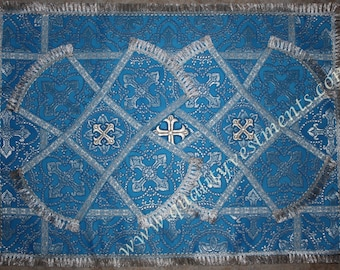 FOR SALE! Orthodox Communion Chalice Cover Veil Metallic Brocade Blue Silver