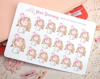 "Kawaii Girl ""Keep Hydrated!"" Decorative Stickers ~ Valerie ~ For your Life Planner, Diary, Journal, Scrapbook..."