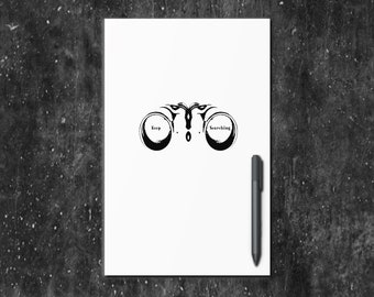 Keep Searching Black and White Travel Journal, Notebook, Sketchbook, Diary, or Log - Small and Large