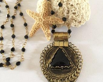 Beaded Gold Fill & Onyx Tibetan Teardrop Pendant Necklace Boho Layering