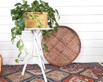 Vintage Twig Plant Stand • Adirondack Folk Art Wood Table  • Rustic Farmhouse Decor