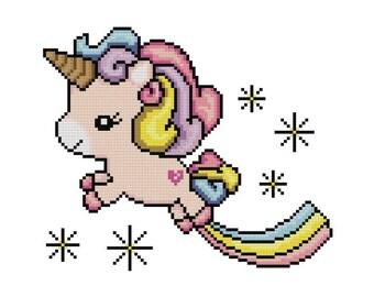 Unicorn Cross Stitch Pattern pdf Pony Pattern Children's Cross Stitch with Stars Needlework Instant Download