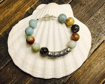 Handmade Amazonite Pewter Silver Stone Beaded Bracelet Wristband Boho