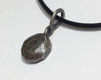Chunk of Silver Pendant necklace - Rustic round solid silver - Leather cord
