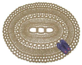 Oval Area Rug - Jute Doily Rug - Natural Fiber Rug - Hand Crochet Rug - Large Statement Rug - Openwork Rug - Southwestern Decor - OOAK Rug