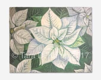 "White Poinsettia - Original Acrylic Painting 16 x 20"""
