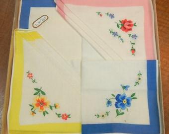 3 Vintage handkerchiefs - hand embroidered in Northern Ireland - 1960s hankies - floral handkerchiefs