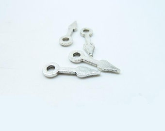50pcs 6x15mm Antique Silver Gear Clockwise clock hand Hour Minute Pointer Charms Pendant C7992