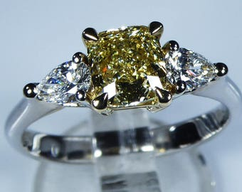 GIA Certified 18k White Gold 1.54ct Fancy Yellow Canary Diamond Trilogy Engagement Ring