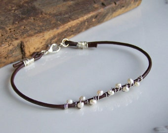 Beaded Anklet, Freshwater Pearl Anklet, Leather and Pearls, Leather Anklet, Wire Wrapped Anklet, Pearl Anklet, Etsy Jewelry