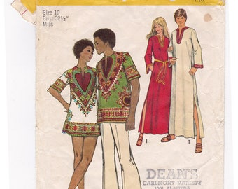 Simplicity 5043 MENS Caftan Dashiki Shirt Sewing Pattern Adult Boho Vintage 1970s Size 10-12 Chest 32 1/2, Med Chest 38 40, Complete Cut