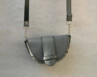 grey handbag, small leather purse for women, shoulder or belt bag, crossbody or belt strap purse, gift for her, debudok, feminine, concert