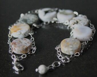 Ocean Jasper and Sterling Silver Chain Harmony Bracelet