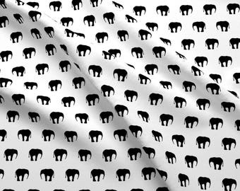 Elephant Fabric - Elephants Black And White By Ornaart - Elephant Wild Animal Simple Modern Cotton Fabric By The Yard With Spoonflower