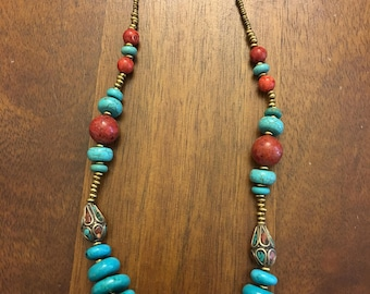 Beautiful Aqua Blue Beaded Necklace
