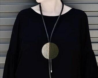 Statement Necklace Silver Black Geometric Massive Necklace Rubber Necklace Statement gifts for women ClikaTies Long necklace Minimalist