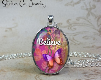 Believe Butterfly Necklace - Pink and Purple - Oval Pendant or Key Ring - Handmade Wearable Photo Art Jewelry - Nature art - Gift for her