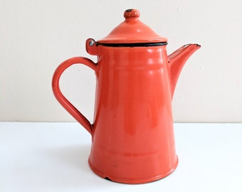 Vintage Orange Enamelware Teapot, Vintage Coffee Pot