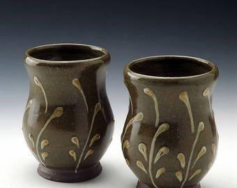 Dram Cup / Shot Glass with Leaf Motif and Celadon Glaze