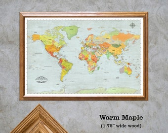 Push Pin World Travel Map. Personalize Your Map, Framed 24x36 Map, Push Pins Included, Modern  2017 Geography. Map 504