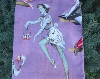 Zombie Flat drawstring bag, flat drawstring travel bag, flat bag for Rummikub tiles, Beauty and Brains, The Flatie Jr